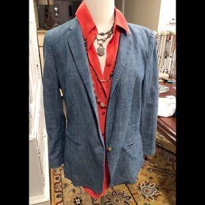 Ann Taylor Loft Chambray Blazer Size 8 EUC